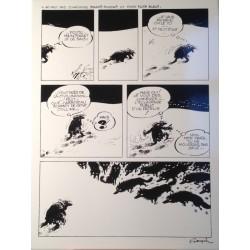 Plaque émaillée Franquin - Idées Noires Loups 28x36