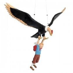 Leblon Moulinsart Tintin - Tintin et Milou suspendus au condor (15 cm)