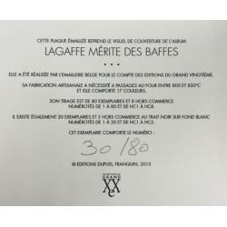 Plaque émaillée Gaston - Lagaffe mérite des baffes 80x80