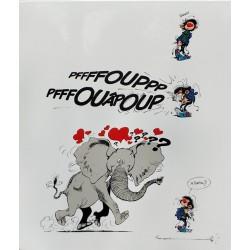 Plaque émaillée Gaston - Éléphant 55x65