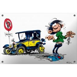 Plaque émaillée Gaston - Taxi Fiat 509 30x20