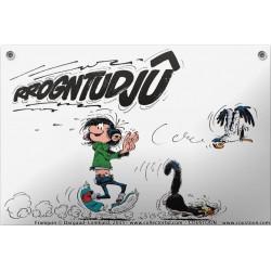 Plaque émaillée Gaston - Rrogntudjû 30x20