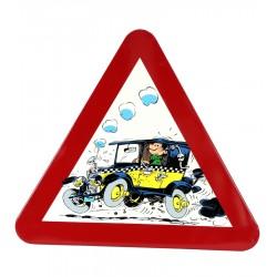Plaque émaillée Gaston - Panneau signalisation Taxi Fiat 509