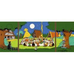 Plaque émaillée Astérix - Banquet (Tryptique) 30x72