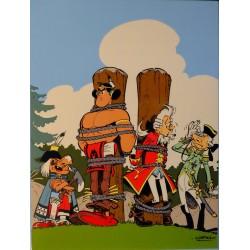 Plaque émaillée Astérix - Oumpah-Pah contre Foie-Malade 45x60