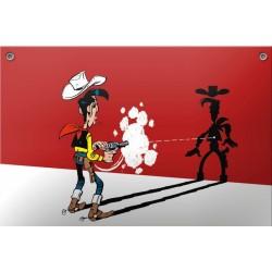 Plaque émaillée Lucky Luke - LL tirant sur son ombre 30x20