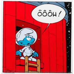 Plaque émaillée Schtroumpfs - Cosmoschtroumpf OOOH 31x32