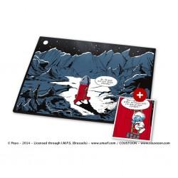 Plaque émaillée Schtroumpfs - Cosmoschtroumpf fusée (Prestige) 73x49