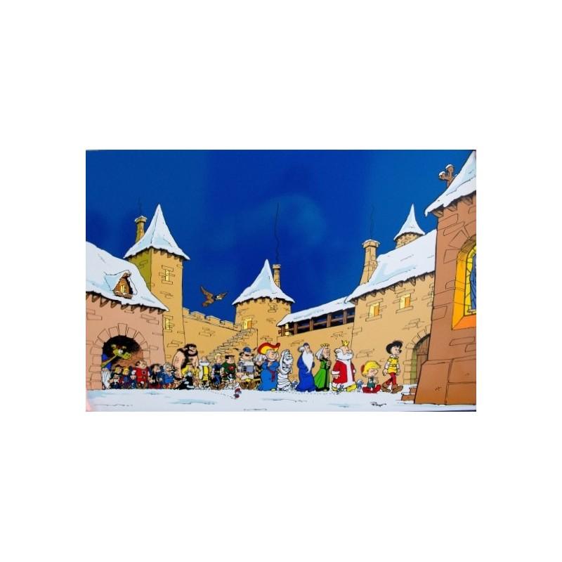 Plaque émaillée Schtroumpfs - Le Noël de Peyo 90x60