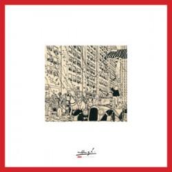 Lithographie Moulinsart Tintin - Amérique parade (encadrée) 37,5x37,5