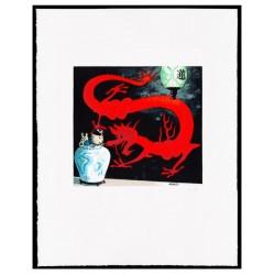 Lithographie Moulinsart Tintin - Lotus Bleu gouache couleur 60x80