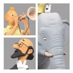 "Fariboles Moulinsart Tintin - Tintin et Milou éléphant ""Sur la piste de Kih-Oskh"""