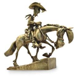 Pixi Morris Lucky Luke - Lucky Luke et Jolly Jumper gravissant la colline (bronze)