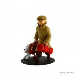 """Figurine Moulinsart Tintin - """"Ils arrivent"""" Tintin et Milou Valise"""