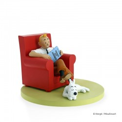 Figurine Moulinsart Tintin - Tintin et Milou at Home (Fauteuil rouge) (Icônes)