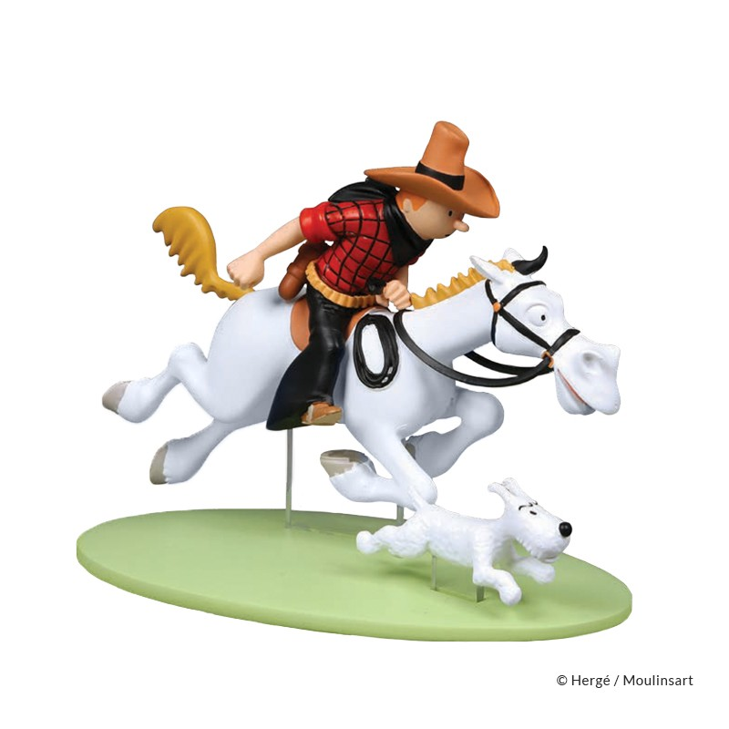 Figurine Moulinsart Tintin - Tintin cow-boy à cheval Amérique colorisé