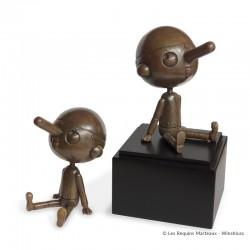 Bronze d'art Winshluss Pinocchio - Pinocchio rêveur (brun vieili)