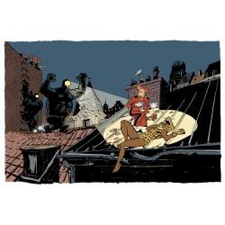 Tirage d'art Schwartz Spirou - La Femme Léopard Pages de Garde TL (Couleur)